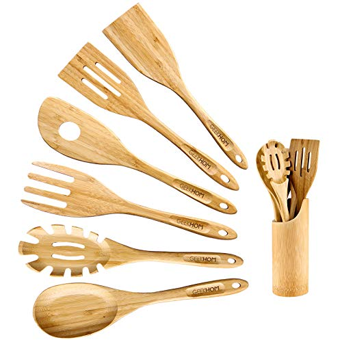 GEEKHOM Bamboo Cooking Utensils with Holder,7 Pieces Extra Large Wooden Kitchen Utensils Set, Heat Resistant Wood Spoons Turners Spatulas for Nonstick Cookware, Kitchen Flippers for Pancake Egg Fish