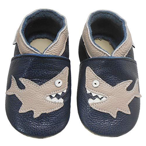 Bemesu Baby Krabbelschuhe Lauflernschuhe Lederpuschen Kinder Hausschuhe aus weichem Leder für Mädchen und Jungen Schwarz Hai (M, EU 20-21)