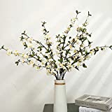 Artificial Cherry Blossom Faux Silk Flowers Long Peach Apple Branches Greenery Tree Stems for Home Decor (White, 4Pcs/Pack)
