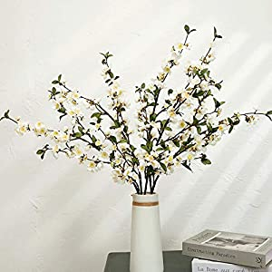 Artificial Cherry Blossom Faux Silk Flowers Long Peach Apple Branches Greenery Tree Stems for Home Decor (White, 2Pcs/Pack)