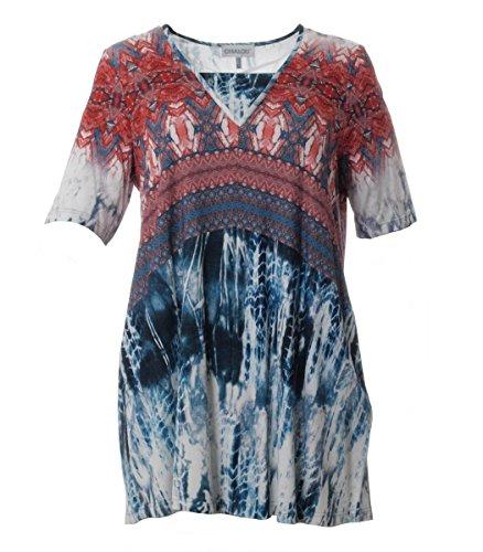 Chalou ? Tunika Shirt lang V-Ausschnitt Viskose Blau Rot große Damen Größen Oberteil, Größe:56