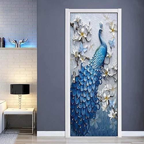 CJZYY 3D Wall Sticker Embossed Peacock Wall Art Fantasy Door Art Canvas Poster Print Gift 90x200cm
