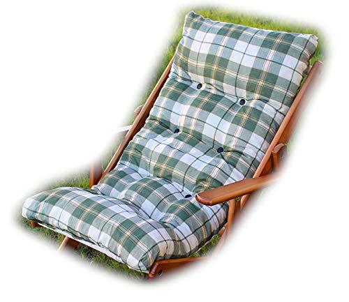 Totò Piccinni Cuscino Imbottito di Ricambio per Poltrona Sedia Sdraio Harmony Relax, 105x55x14cm (Verde Scacchi)