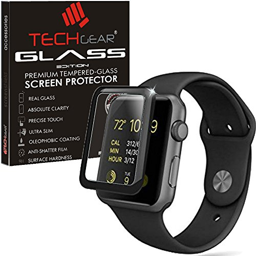 TECHGEAR Screen Protector fits Apple Watch Series 3 42mm - 3D GLASS Edition Full Coverage Tempered Glass Screen Protector Guard Cover Compatible with 42mm Apple Watch, Watch Sport, Watch Edition