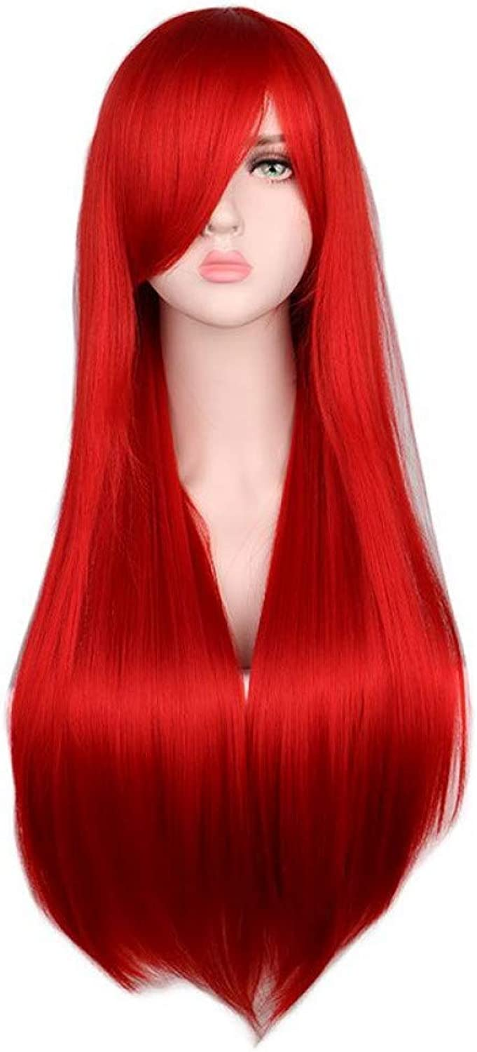BMY Long Straight Cosplay Dark Red Wig 80 Cm Heat Resistant Synthetic Hair Wigs