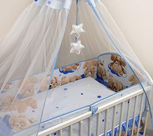Parure de lit ou berceau pour bébé, avec tour de lit et Drap-housse élastique en éponge, 6 pièces lettino 120 x 60 cm Motivo 18