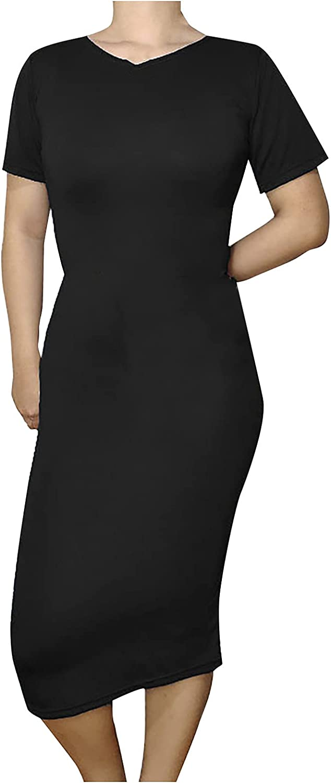 Tantisy Women's Sexy Dress Elegant Style Bag Hip Elasticity Party Solid Color Ultra Soft O-Neck Slim Short Sleeve Dress