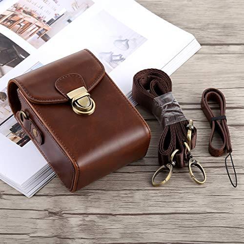 Consumer YHM Ganzkörperkamera Schnallenverschluss PU Leder Tasche mit Handschlaufe & Umhängeband for Canon G7X II / G9X Mark II, Sony RX100 / M2 (Schwarz) (Color : Coffee)