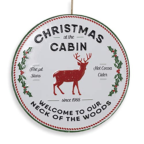 "13.5-Inch Vintage Embossed Metal Round Country ""Christmas at The Cabin"" Sign – Rustic Hanging Holiday Wall Art Decoration – Indoor Outdoor Farmhouse Decor for Home, Front Porch, or Kitchen"