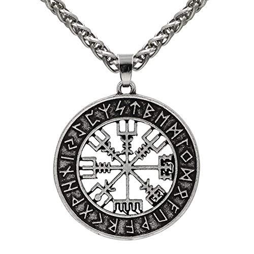 QZY Viking Edelstahl Anhänger Kette, Herren Odin Halskette, Zweifarbige Nordische Mythologie Zubehör Piraten Kompass Schmuck,Silver,Leatherrope