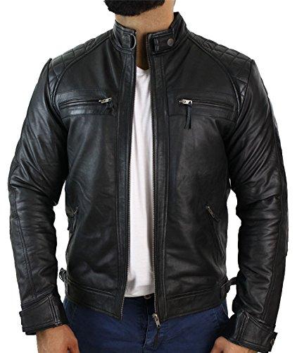 Veste de motard en cuir souple véritable pour homme style rétro avec fermeture Éclair Noir - Noir - XXXX-Large