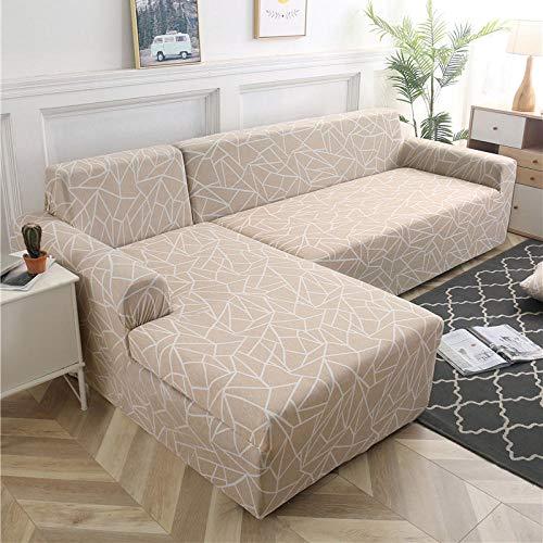 B/H Sofa-Überwürfe Antirutsch Stretch,Für Wohnzimmer Geometrische Sofabezug L-förmige Chaiselongue Schonbezug-22_190-230cm,Elastisch Sofa Überwürfe Sofabezug
