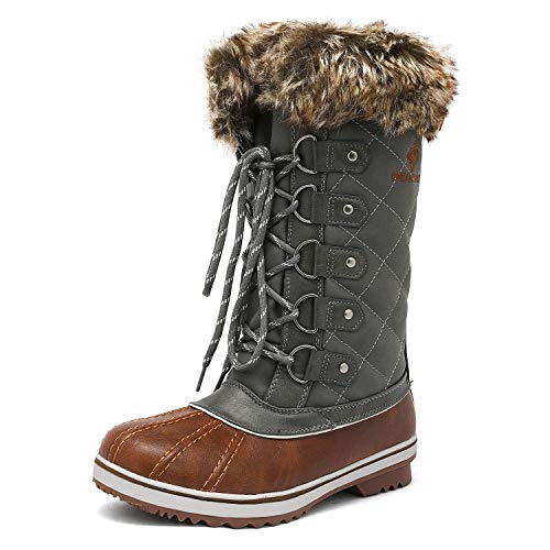 DREAM PAIRS Women's River_1 Tan Khaki Mid Calf Winter Snow Boots Size 8 M US