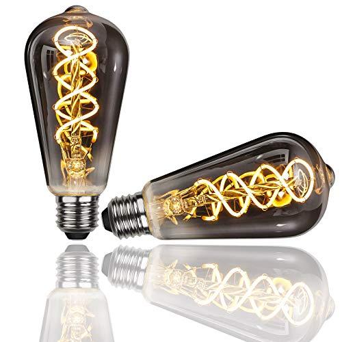 Gorssen Bombilla LED,Vintage Edison Bombilla E27 ST64 5W Lámpara incandescente vintage Edison Lámparas decorativas Bombilla de filamento Bombillas Decorativa for Casa,Restaurante, Bar - 2 Unidades