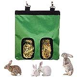 Borsa per Fieno, Borsa per Fieno per Animali, Conigli Borsa Fieno, Mangiatoia per Cavie, per Coniglio Porcellino d'India Cincillà Sacchetto Alimenti Essenziali Animali Domestici (2 Aperture) (Verde)