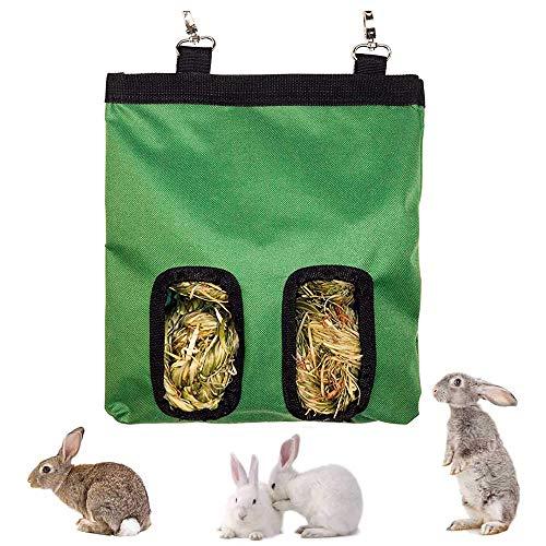 Bolsa Heno, Bolsa Heno para Animales Pequeños, Bolsa Heno Conejo, Bolsa Heno Colgante, Comedero Heno para Mascotas, para Conejo Conejillo Indias Hamsters Essential Food Sack (2 Aberturas) (Verde)