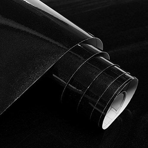 HilMe Roll-Wandaufkleber, Perlglanz-Lack-Tapete mit selbstklebendem Design, Möbelfliesen-Aufkleber, wasserdichter Paster für Schranktüren, Fenster-Dekor, nicht null, Schwarz , 60cmx3m