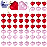 Spiralization Direct 72 Pieces Heart Shaped Ornaments Valentine's Heart Baubles Hanging Ornaments for Valentine's Day Wedding Party