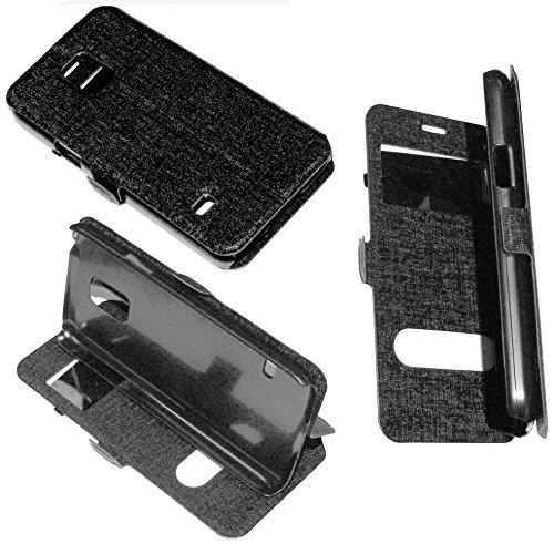 CUSTODIA IN ECO PELLE nera con cover in silicone E PELLICOLA RIGIDA TOUCH PROTEZIONE FLIP CASE ULTRA SLIM per Nokia Lumia 535