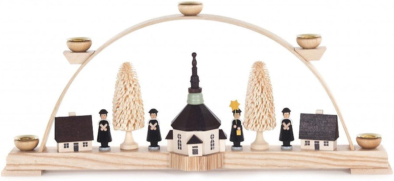 Schwibbogen mit Seiffener Kirche und Kurrende - 44cm - Dregeno Erzgebirgische Holzkunst - Artikel 202 038B