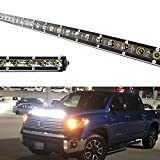 iJDMTOY Hood Scoop Mount 36-Inch LED Ultra Slim Light Bar Compatible With 2014-2020 Toyota Tundra, Includes (1) 108W High Power LED Lightbar, Hood Bulge Mounting Brackets & On/Off Switch Wiring Kit