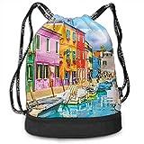 KKLDOGS Mochila con cordón, bonita mochila con estampado de Burano Italia