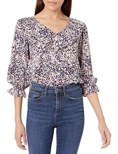 Amazon Brand - Goodthreads Women's Long Sleeve Ruffle Fluid Twill Woven Top, Pink Painted Floral, X-Large