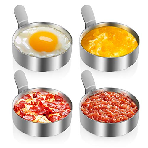 Egg Circle Rings 4 Pack 8.8cm 3.5inch | Stainless Steel Round Egg Rings For Frying or Poaching Eggs | Egg Rings Non Stick Frying | Egg Moulds Molds for Cooking Fried Eggs, Pancake Rings, Beefsteak