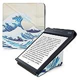 kwmobile Funda Compatible con Kobo Libra H2O - Carcasa magnética de Origami para e-Book - Ola Japonesa Azul/Blanco/Beige