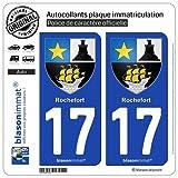 blasonimmat 2 Autocollants Plaque immatriculation Auto 17 Rochefort - Armoiries