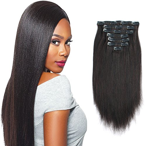 Sassina Real Remy Thick Yaki Straight Clip in Virgin Human Hair Extension Natural Black Double Wefts for African American Black Women 7 Pieces 120g with 17 Clips, YS 18 Inch
