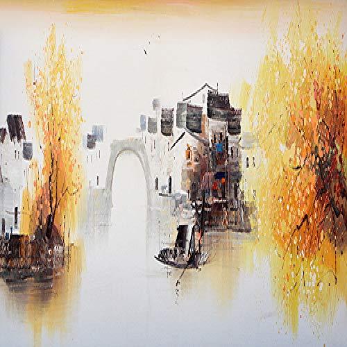 N / A Yuke Art Abstract Landschaftsölgemälde Wandgemälde Leinwand Ölgemälde Bäume im chinesischen Stil und Brücke Wohnzimmer Bilder Rahmenlos 40x120cm