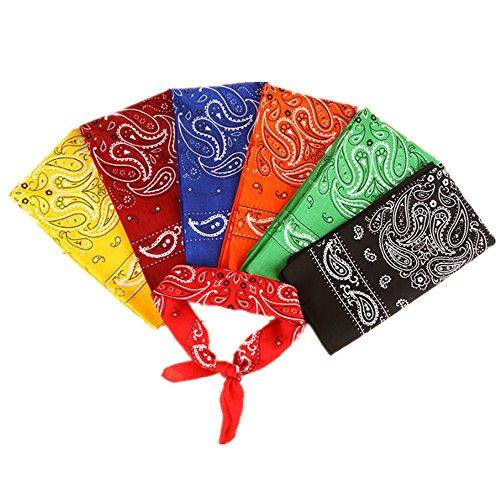 Freessom Lot de 7 Bandana Cheveux Homme Femme Visage Soin Bandeau Coton Motif Fleur Paisley Vintage Echarpe de Cou Serre Tete Sport Pas Cher Multicolore