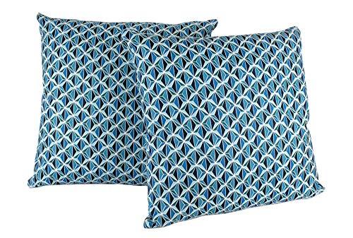 DiseLio 2 Fundas de Cojín 100% algodón, Tejido Fino y Fresco. Cojines Estampado simétrico Rombos Azul, 40 x 40 cm. Fundas Almohada Decorativas para Sofá o Cama, (Made in Spain) Romboes-40x40