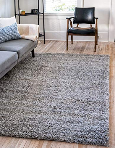 Unique Loom Solo Solid Shag Collection Modern Plush Cloud Gray Area Rug (5' 0 x...