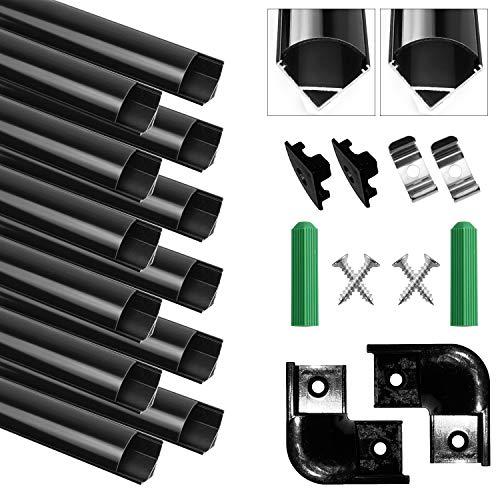 Perfil de Aluminio, 12 x 1M V-Form, Paquete de 12 perfiles de aluminio LED, Con tapa translúcida, tapa de extremo, conector en ángulo recto y clip de montaje metálico de 90 °, 12M, Negro