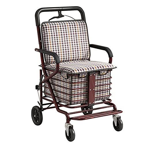Foldable shopping cart for seniors,shopping trolley hinged with storage bag, height-adjustable handle car, shopping trolley with double brake system,trolley can rest for the older