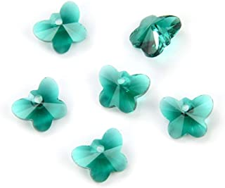 20pcs Czech Top Drilled Butterfly Crystal Pendant 10mm (0.39 Inch) May Emerald Green Birthstone Drop Beads for Jewelry Cra...
