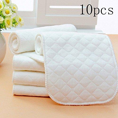 Fodere per pannolini riutilizzabili in puro cotone da 10 pezzi, inserti in 3 strati (colore: bianco)