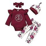 Shiningbaby - Conjunto de ropa para bebé y niña (3 unidades), diseño de rosa Blanco y rojo. 0-3 Meses