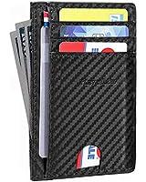 Awalis Mens Wallet Leather Front Pocket Slim Minimalist Wallet RFID Card Wallet for Men Women, 01#Black