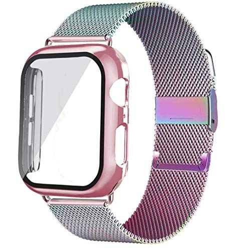 WSGGFA Vidrio + Caso + Correa para la Banda de Reloj de Apple 44mm 40mm 38mm 42mm Accesorios Metal Milanese Loop Pulsera Correa para IWATCH Series 6 5 4 SE