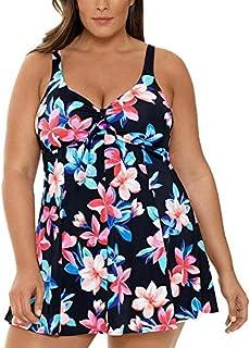 Swim Solutions Women's Plus Size Lanai Printed Tummy Control Bow-Front Swimdress Lanai