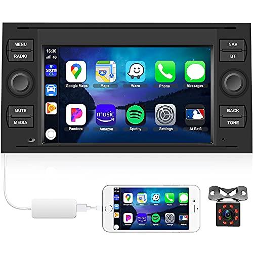 CAMECHO Radio Coche para Ford GPS Android 10.0 con Carplay /Android Auto 7 Pulgadas Pantalla Táctil con Bluetooth/FM/WiFi/iOS&Android Enlace Espejo+ Cámara Trasera+ USB para Ford Transit Fiesta Kuga