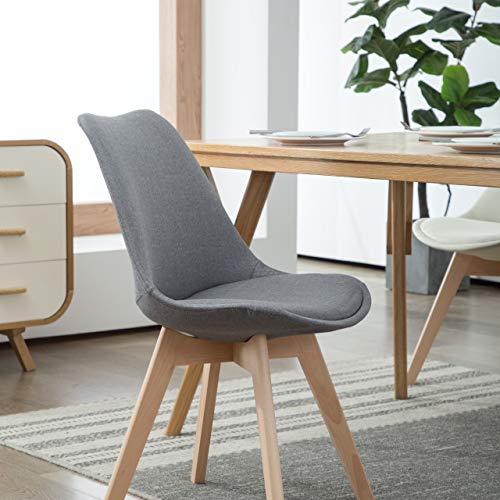 Deuline 4 x Esszimmerstühle Esszimmerstuhl SGS geprüft und Zertifiziert Polsterst Stuhl Stühle Lehnstuhl Oslo+ Grau-Stoffbezug 521205