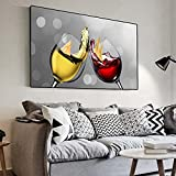 Cáliz romántico moderno Champán Vino tinto Arte de la pared Pintura en lienzo Restaurante Impresión Carteles Sala de estar Decoración del hogar 20x40cm (7.9x15.7in) Sin marco