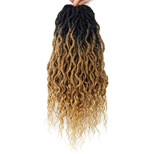 Faux Locs Crochet Hair 6Packs 24Inch Pre-looped Long Goddess Locs Crochet Hair, Locs with Soft Curly Ends Dreadlocks Deep Wavy Faux Crochet Locs Synthetic Braids Extensions 72locs(24'', T27)