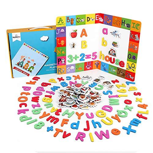 BeebeeRun Magnetische Buchstaben und Zahlen Set 164 Stücke,ABC Alphabet Magnete Lernspielzeug für Kinder,Spielzeug ab 3 Jahre Jungen Mädchen,Kühlschrankmagnete,Geschenkbox