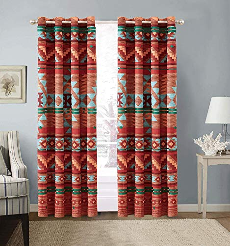 Southwestern Grommet Window Curtain Set with Native American Patterns and Rustic Colors of Brown Turquoise Red Orange Burgundy and Rust (Austin Brown)
