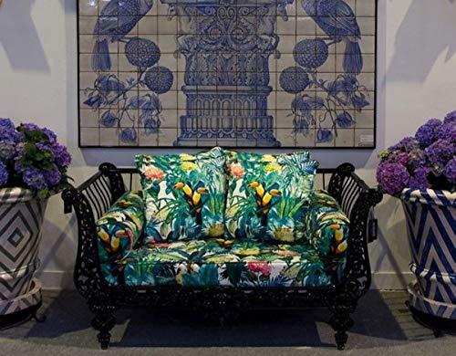 Casa Padrino sofá Barroco de Lujo Negro/Multicolor 137 x 87 x A. 77 cm - Sofá de Hierro Forjado Forjado a Mano con Cojines - Sofá de Salón - Sofá de Jardín - Sofá de Patio - Muebles Barrocos
